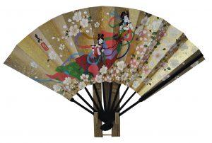 〈京扇子〉仕舞両面飾り扇子天女/紅白梅 扇子立付箱入