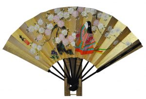 〈京扇子〉仕舞両面飾り扇子 童女/紅葉 扇子立付 箱入