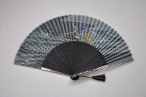 〈京扇子〉桔梗 / 女性用絹扇子 日本製 黒色