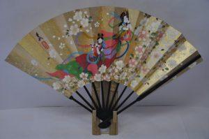 〈京扇子〉仕舞飾り扇子天女/紅白梅扇子立て付き箱入り