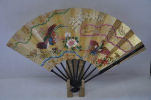 〈京扇子〉仕舞飾り扇子鳳凰/花車 扇子立て付き 箱入り