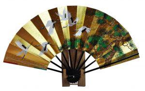 〈京扇子〉飾り扇子 六つ鶴/百花 扇子立て付き 箱入り
