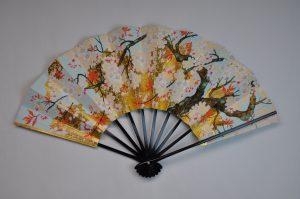 〈京扇子〉飾り扇子 富士山/桜 扇子立て付き 箱入り