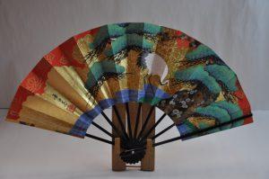 京扇子〉飾り扇子一匹鶴/紅白梅 扇子立て付き 箱入り