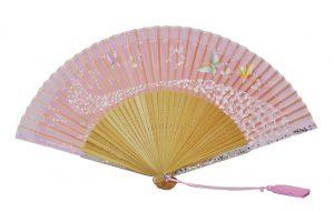 〈京扇子〉婦人用薄絹扇子 天匹田群蝶 日本製 ピンク色