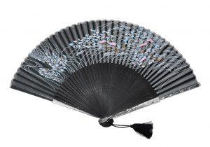 〈京扇子〉婦人用薄絹扇子 すすきあざみ 日本製 黒色