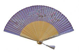 〈京扇子〉婦人用薄絹扇子 すすきあざみ 日本製 紫色