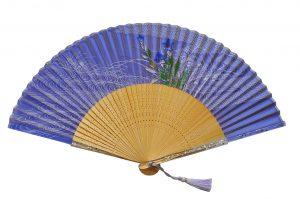 〈京扇子〉婦人用薄絹扇子 桔梗柄 日本製 紺色