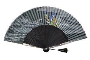 〈京扇子〉婦人用薄絹扇子 桔梗柄 日本製 黒色