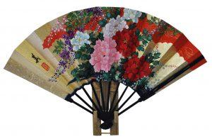 〈京扇子〉仕舞両面飾り扇子百花/桜 扇子立付箱入