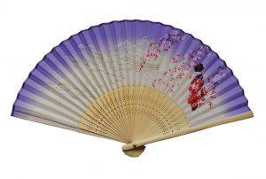 〈婦人用〉絹扇子舞妓柄 紫色