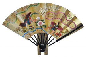 〈京扇子〉仕舞両面飾り扇子鳳凰/花車 扇子立付 箱入