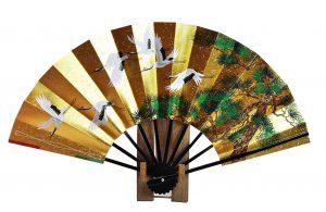 〈京扇子〉両面飾り扇子 六つ鶴/百花 扇子立付 箱入