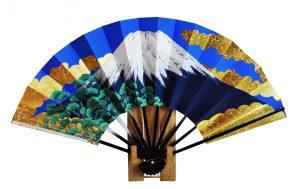 〈京扇子〉両面飾り扇子 富士山/桜 扇子立付 箱入り