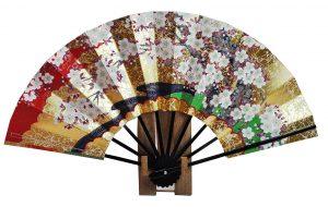 〈京扇子〉両面飾り扇子 桜/紅葉 扇子立付 箱入