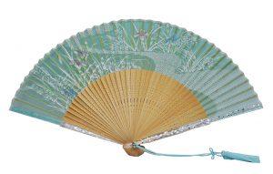 〈京扇子〉婦人用薄絹扇子 あやめ 日本製 グリーン色