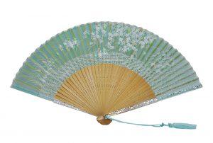 〈京扇子〉婦人用薄絹扇子 流水紅葉 日本製 グリーン色