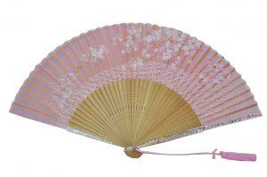 〈京扇子〉婦人用薄絹扇子 流水紅葉 日本製 ピンク色