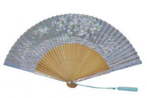 〈京扇子〉婦人用薄絹扇子 流水紅葉 日本製 水色