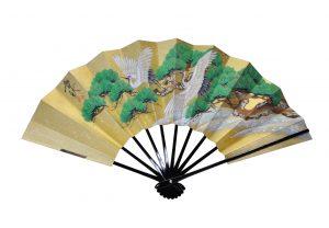 〈京扇子〉手描き両面飾り扇子二匹鶴/紅葉 扇子立付 箱入