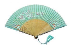 〈京扇子〉婦人用薄絹扇子 あざみ柄 日本製 グリーン色