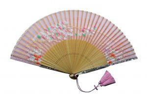 〈京扇子〉婦人用薄絹扇子 あざみ柄 日本製 ピンク色