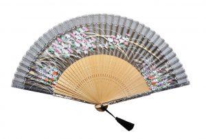 〈京扇子〉婦人用薄絹扇子 あざみ柄 日本製 黒色