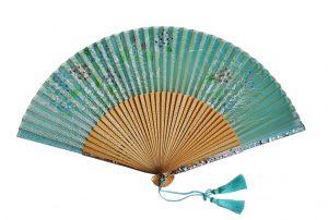 〈京扇子〉婦人用薄絹扇子 あじさい柄 日本製 グリーン色