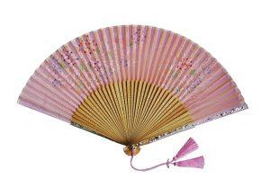 〈京扇子〉婦人用薄絹扇子 あじさい柄 日本製 ピンク色