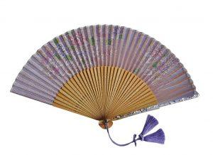 〈京扇子〉婦人用薄絹扇子 あじさい柄 日本製 紫色