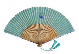 〈京扇子〉婦人用薄絹扇子 くじゃく柄 日本製 グリーン色