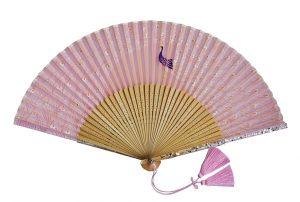 〈京扇子〉婦人用薄絹扇子 くじゃく柄 日本製 ピンク色