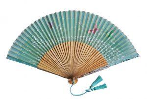 〈京扇子〉婦人用薄絹扇子 天匹田群蝶 日本製 グリーン色