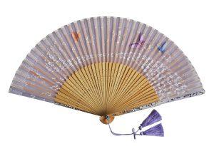 〈京扇子〉婦人用薄絹扇子 天匹田群蝶 日本製 紫色