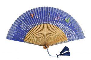 〈京扇子〉婦人用薄絹扇子 天匹田群蝶 日本製 紺色