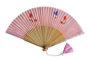 〈京扇子〉婦人用薄絹扇子 小花蝶 日本製 ピンク色