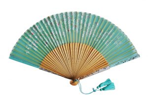〈京扇子〉婦人用薄絹扇子 桜柄 日本製 グリーン色