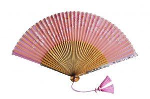〈京扇子〉婦人用薄絹扇子 桜柄 日本製 ピンク色