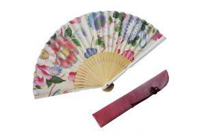 〈婦人用〉ハンカチ扇子(華柄白色)、扇子袋(ピンク色)セット