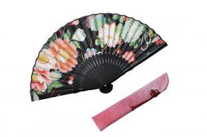 〈婦人用〉ハンカチ扇子(華柄黒色)、扇子袋(ピンク色)セット