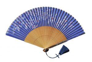 〈京扇子〉婦人用薄絹扇子 桜柄 日本製 紺色
