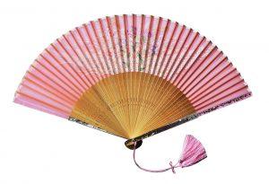 〈京扇子〉婦人用薄絹扇子 秋草柄 日本製 ピンク色