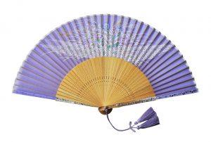 〈京扇子〉婦人用薄絹扇子 秋草柄 日本製 紫色