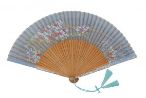 〈京扇子〉婦人用薄絹扇子 あざみ柄 日本製 水色
