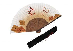 〈紳士用〉和紙扇子(隈取柄裾ぼかし金色)、扇子袋(黒色)セット