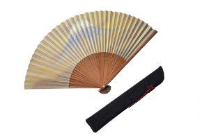 〈紳士用〉和紙扇子(富士山柄)、扇子袋(黒色)セット