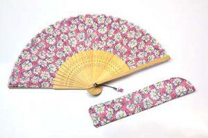 〈婦人用〉ポシェット扇子 ピンクマーガレット柄  扇子袋セット