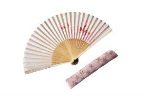 【敬老の日セール】〈婦人用〉雲龍紙扇子(あざみ柄)、扇子袋(金刺入桜柄ピンク)セット